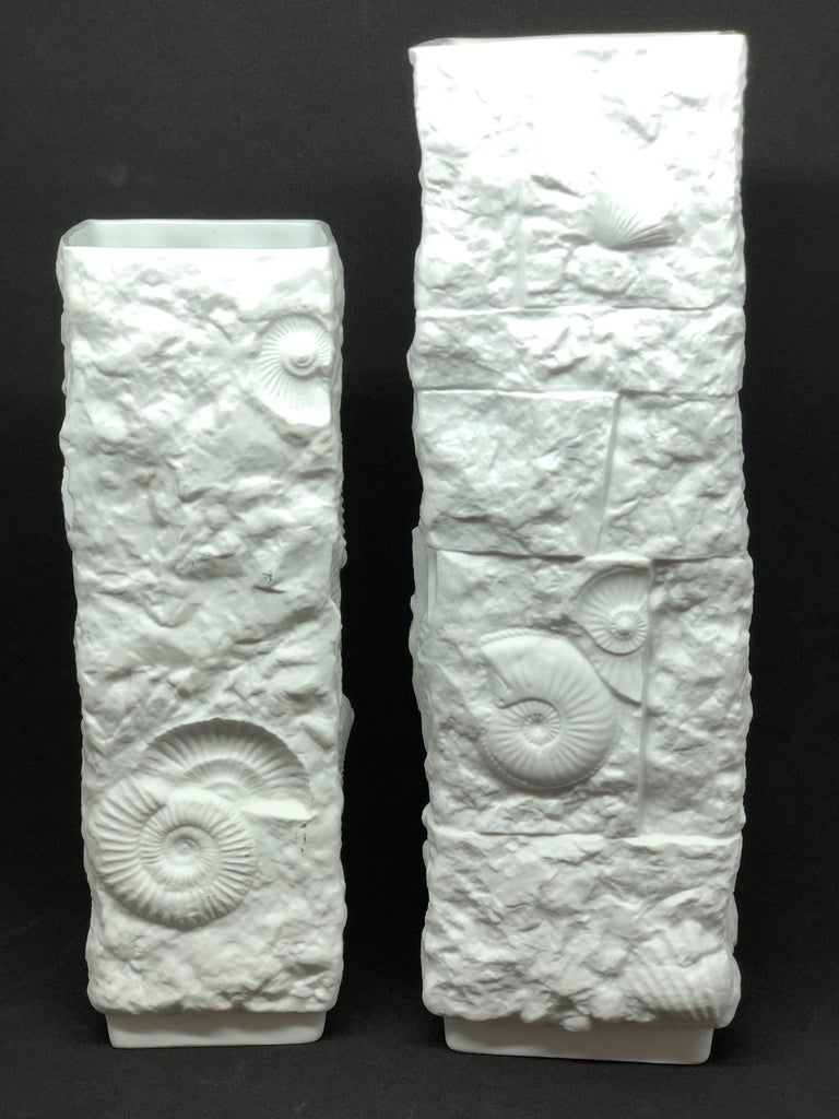Late 20th Century Two Midcentury Bisque Fossil Vases by Kaiser Porcelain, Germany, 1970s For Sale