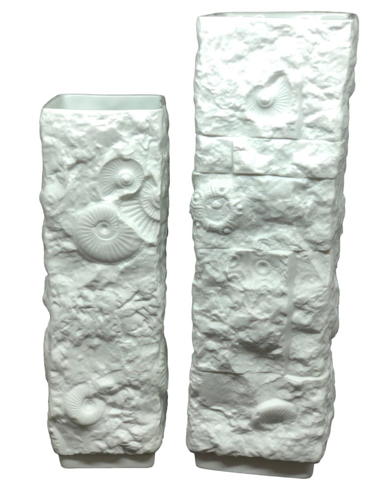 Two Midcentury Bisque Fossil Vases by Kaiser Porcelain, Germany, 1970s For Sale 1