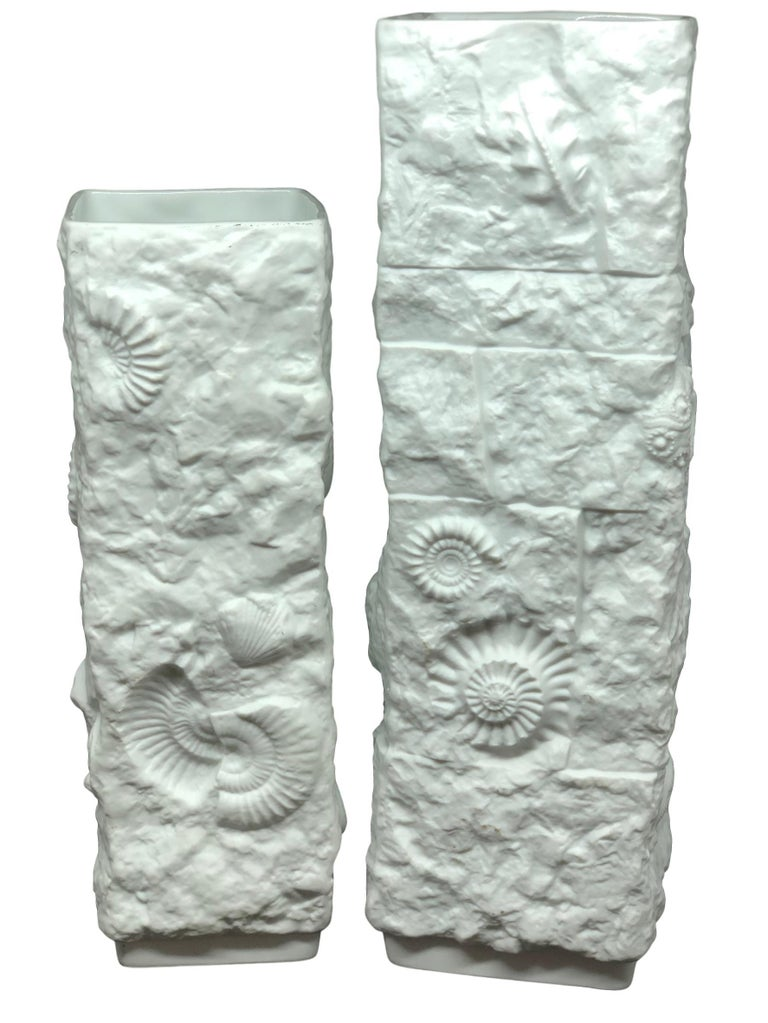Two Midcentury Bisque Fossil Vases by Kaiser Porcelain, Germany, 1970s For Sale 3