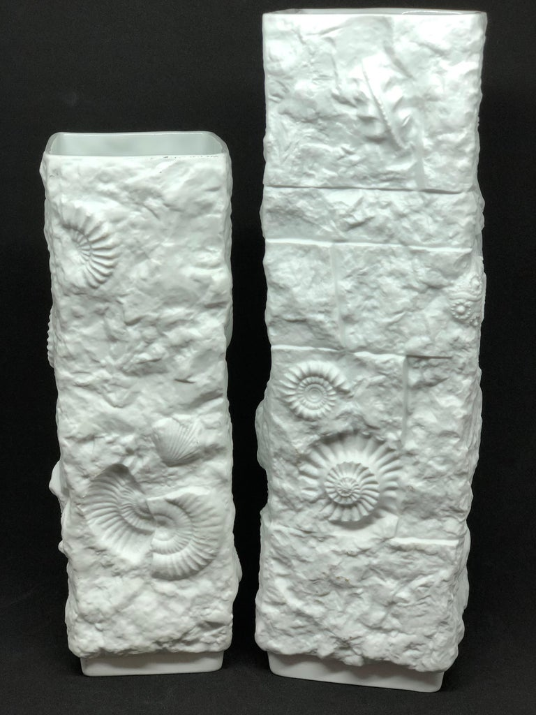 Two Midcentury Bisque Fossil Vases by Kaiser Porcelain, Germany, 1970s For Sale 4