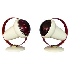 Two Midcentury Charlotte Perriand Table Wall Lamps for Philips Red Lights Sconce