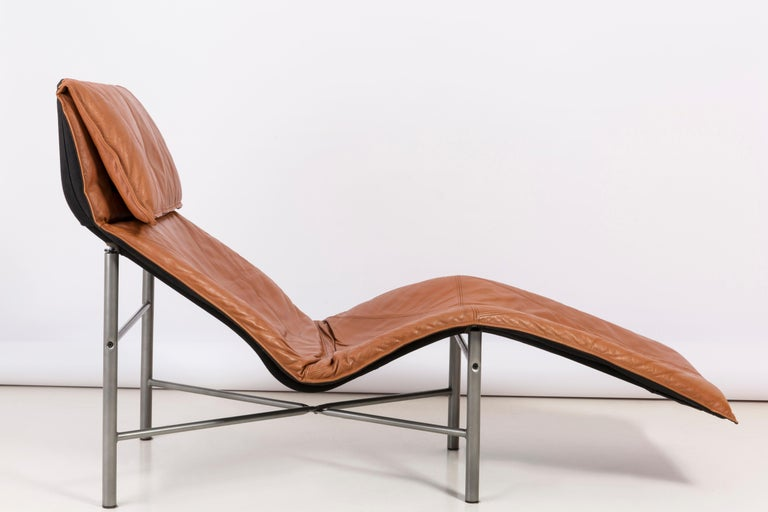Steel Two Midcentury Danish Modern Leather Chaise Lounge Chairs, Tord Björklund, 1980 For Sale