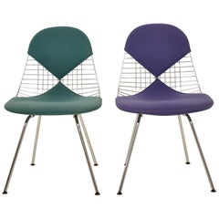 Two Midcentury DKX-2 Wire Bikini Shell Chairs X-Bases by Eames Herman Miller