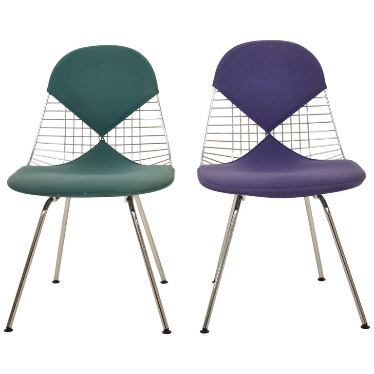 Two Midcentury DKX-2 Wire Bikini Shell Chairs X-Bases by Eames Herman Miller For Sale
