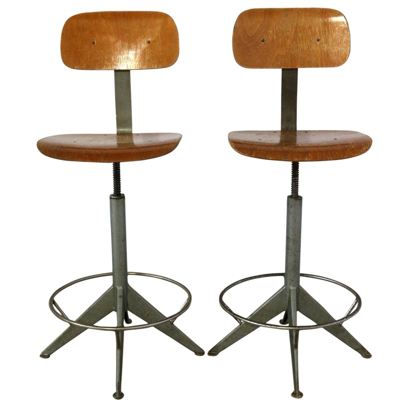 Two Midcentury Industrial Architect Chairs Friso Kramer Style Price Per Item
