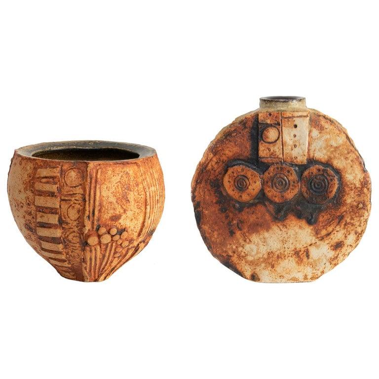Two Mid-Century Modern Ceramic Studio Vases by British Potter Bernard Rocke For Sale