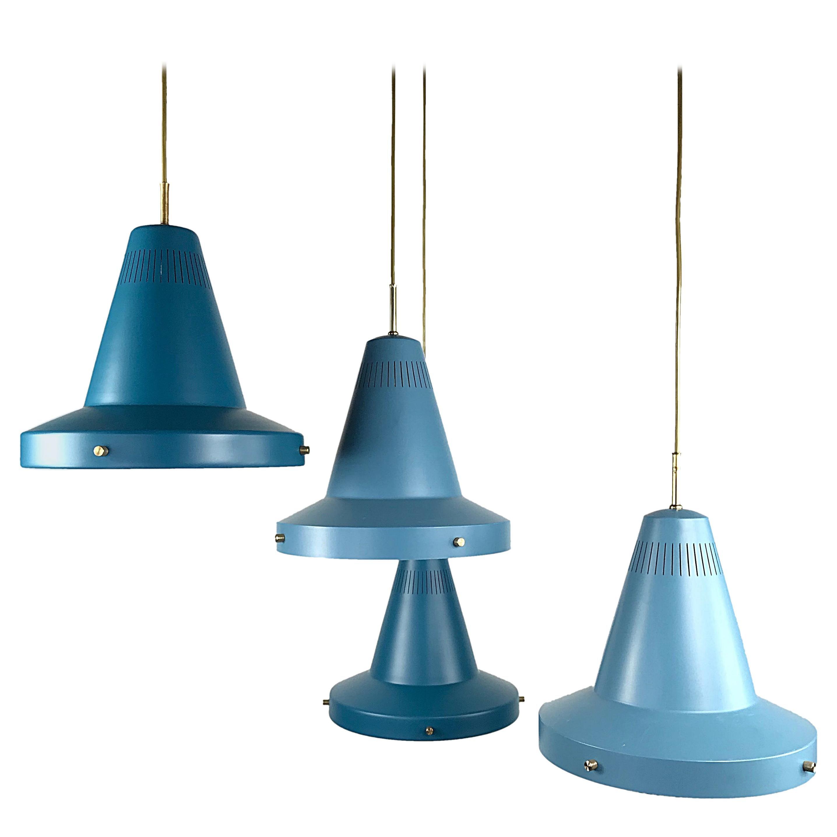 Two of Four Stilnovo Midcentury Modern Blue Pendant Lights, 1950s, Italy