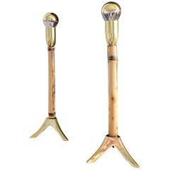 Two Midcentury Rupert Nikoll Brass & Bamboo Nightstand Table Lamp, 1955, Austria