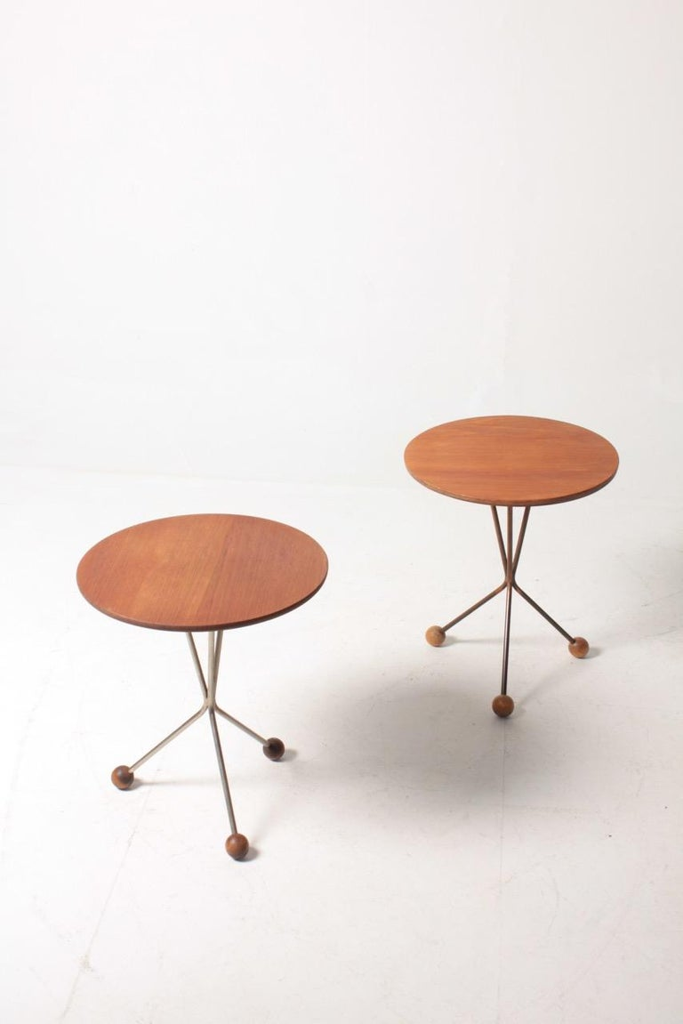 Two side tables in teak designed by Albert Larsson for Alberts Tibro. Made in Sweden in the 1960s. Great original condition.