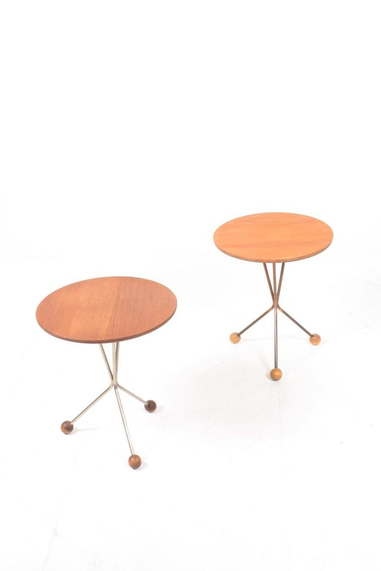 Scandinavian Modern Two  Midcentury Side Tables in Teak by Albert Larsson, 1960s