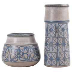 Two Midcentury Vases by Marianne Starck for MA&S Blue and Gray Danish Ceramic