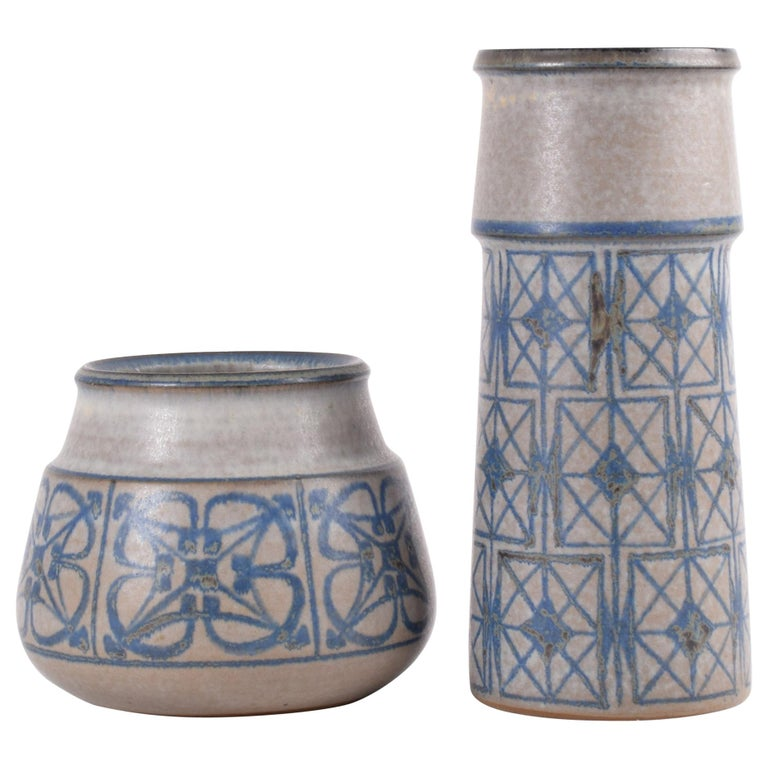 Two Midcentury Vases by Marianne Starck for MA&S Blue and Gray Danish Ceramic For Sale