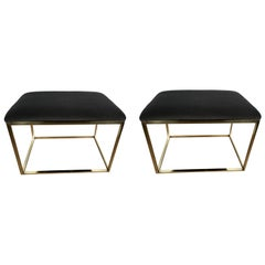 Two Milo Baughman Style Cube Brass Benches, Sold Individually