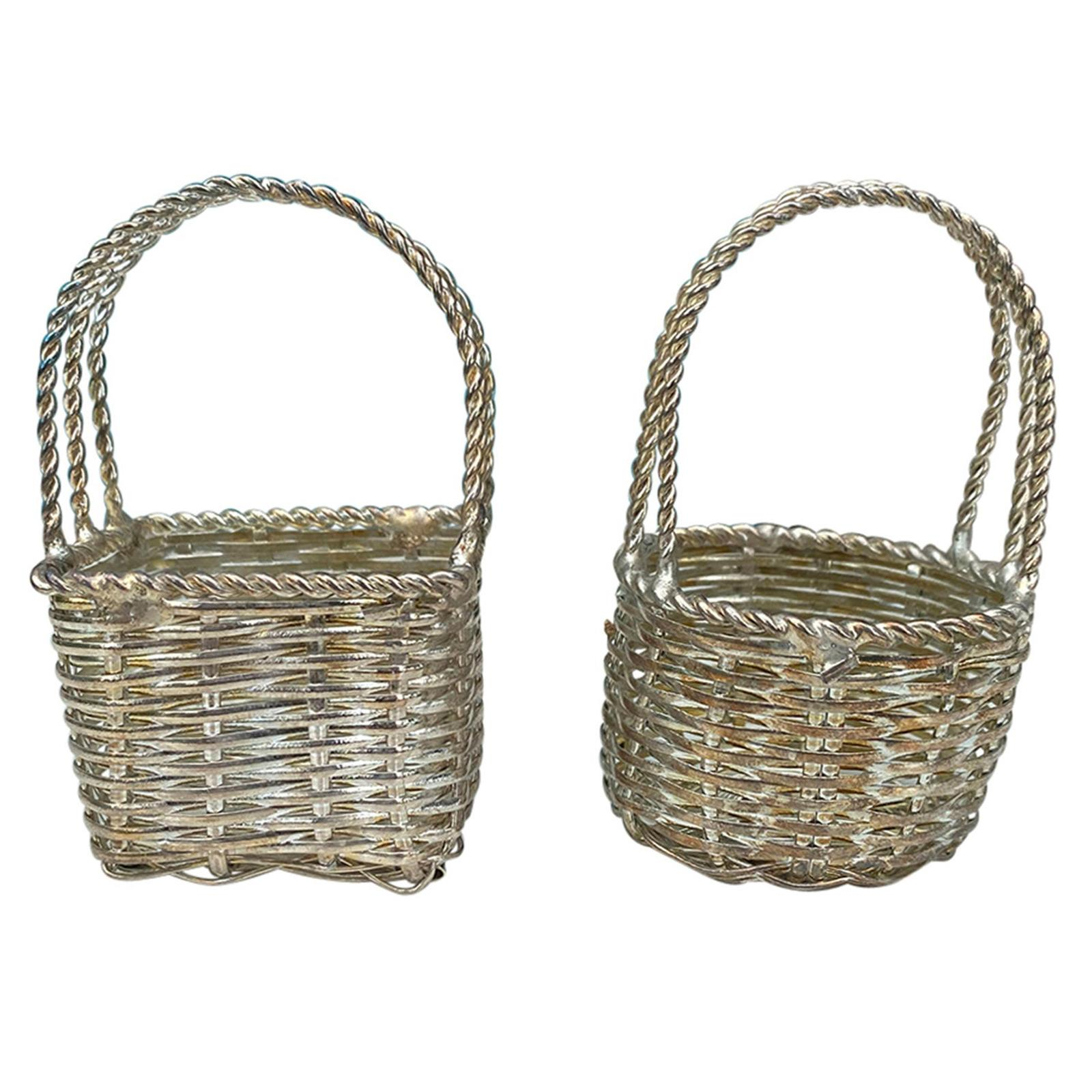 Two Miniature 20th Century Woven Silvered Baskets, Unmarked