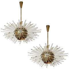 Two 'Miracle' Sputnik Chandeliers by Bakalowits, Brass Glass Rods, 1960s
