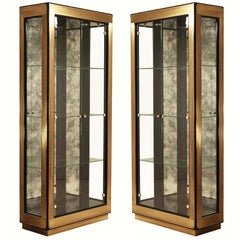 Two Modern Black Lacquered Brass Curio Display Cabinets by Mastercraft