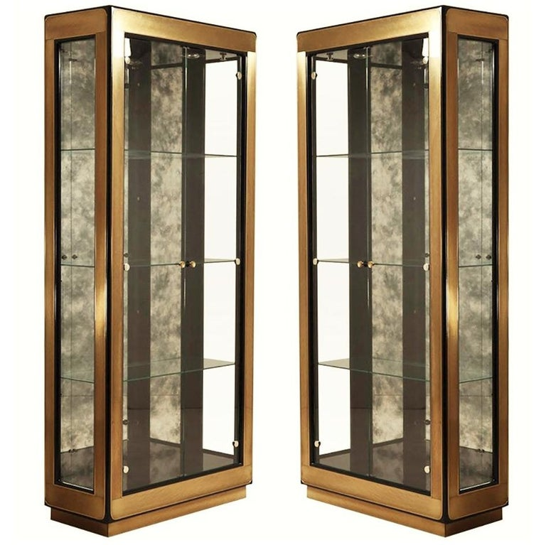 Two Modern Black Lacquered Brass Curio, Modern Display Cabinet