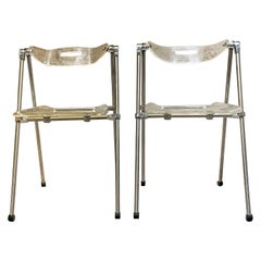 Two Modern Lucite & Chrome Folding Chairs Giancarlo Piretti for Castelli, Italy