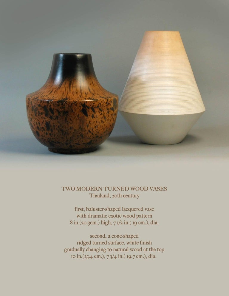 Two Modern Turned Wood Vases Thailand 20th Century For Sale At 1stdibs