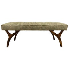 Two Modern Upholstered Sculptural Walnut Benches