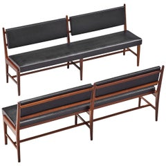 Two Modernist Rosewood Black Faux Leather Benches