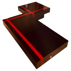 Two Modular Coffee Tables, Red and Black, France. 1970 Mid-Century Wood Design