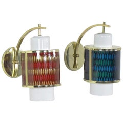 Two Moe Lighting Honeycomb Wall Sconces in Emerald Blue and Tangerine Gold