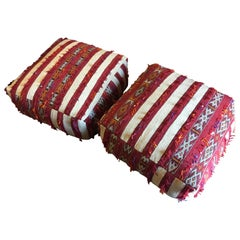 Two Moroccan Floor Pillow Seat Cushion Made from a Vintage Tribal Berber Rug