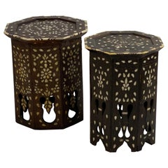 Two Moroccan Sidetables with Nice Inlay