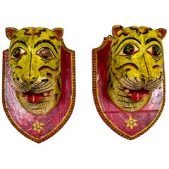 Two Mounted Carved Tiger Heads, 20th Century