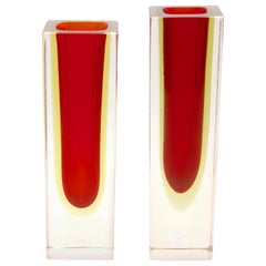 Two Murano Block Vases with Red Core and Diffused Amber