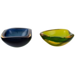 Two Murano Bowls in Blue and Green-Yellow Mouth-Blown Art Glass, Italian Design