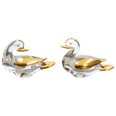 Two Murano Ducks Glass 24 Carat Gold, 1980s