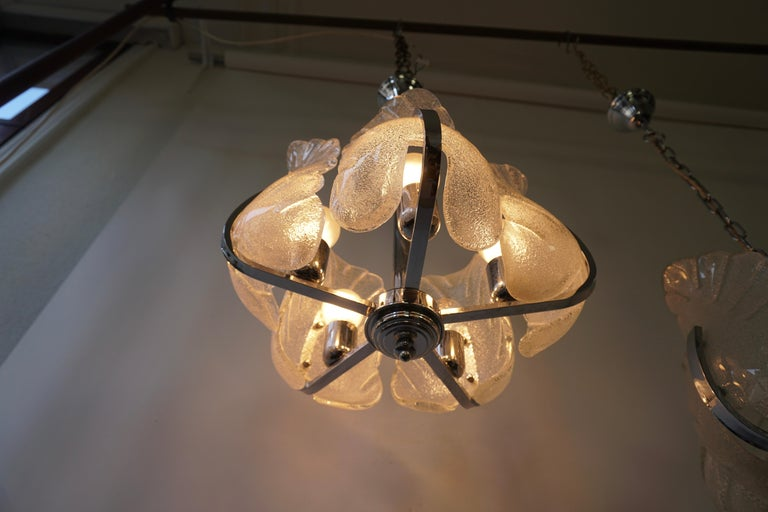 Mid-Century Modern Two Murano Glass and Chrome Pendant Lights For Sale
