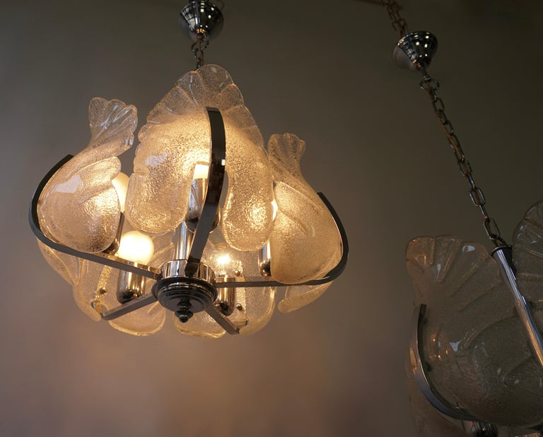Italian Two Murano Glass and Chrome Pendant Lights For Sale