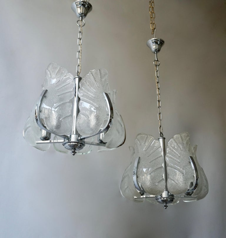 Two Murano Glass and Chrome Pendant Lights For Sale 1