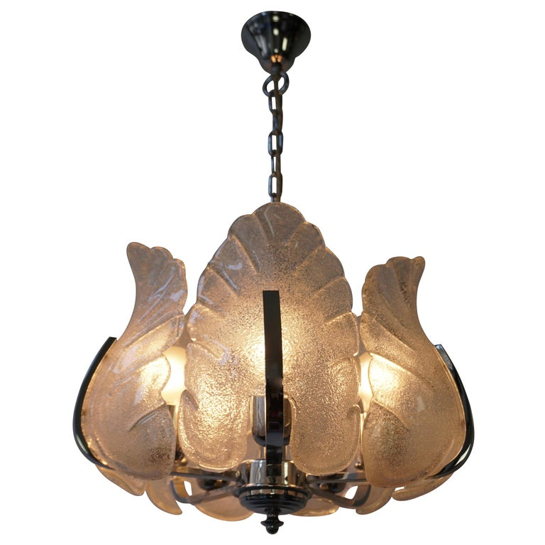 Two Murano Glass and Chrome Pendant Lights For Sale
