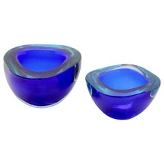 Two Murano Handmade Crystal Sommerso Geode Bowls of Striking Cobalt Blue
