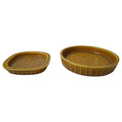 Two Mustard Yellow Ceramic Plates by Gunnar Nylund for Rörstrand, Sweden, 1950s