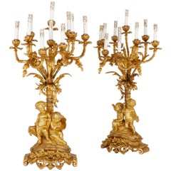 Two Napoleon III Period Gilt Bronze Candelabra by Picard
