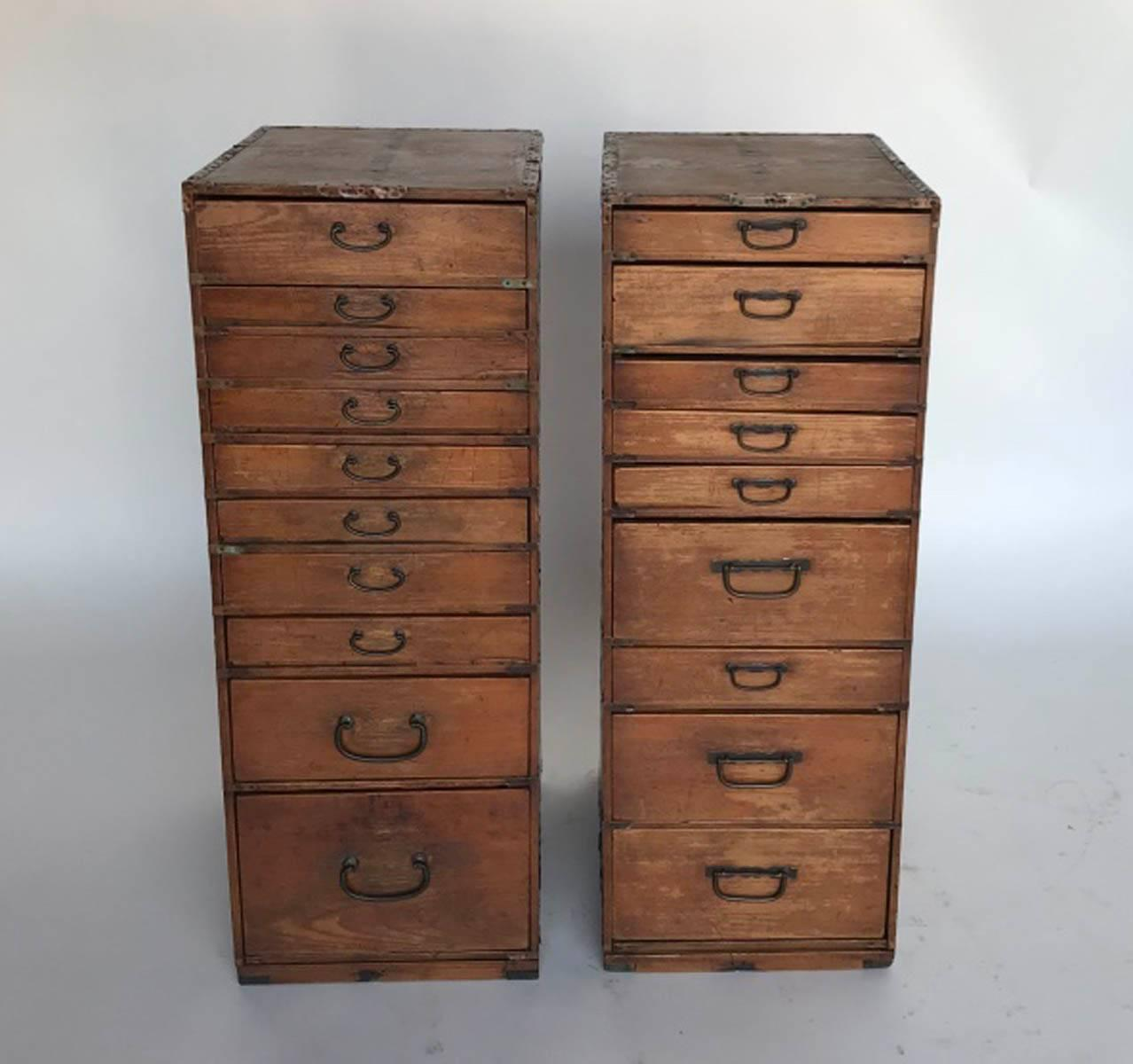 Bon These Are Two Old Shop Cabinets From Japan. Hinoki Wood. Shallow Drawers  With Metal