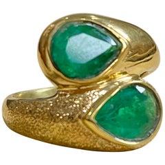 Two Natural Pear Cut Emerald Total 3 Carat Ring 14 Karat Yellow Gold