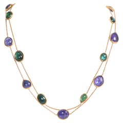 Two Necklaces with Tanzanite and Green Tourmaline Cabochons by Marion Jeantet