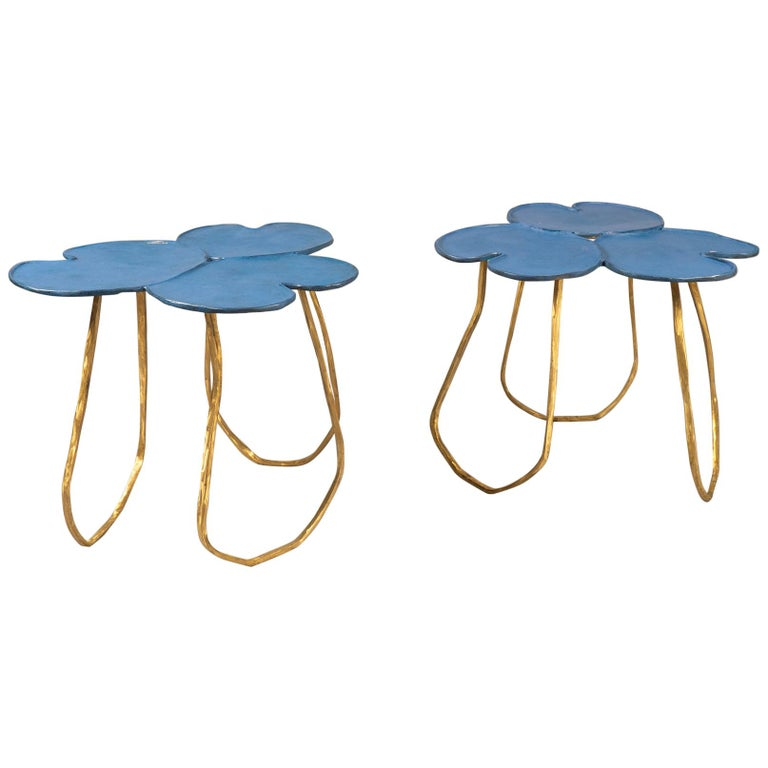 Paula Swinnen pair of Nénuphar side tables, new, offered by Bernd Goeckler Antiques