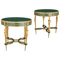 Two Neoclassical Louis XVI Style Malachite and Gilt Bronze Guéridons