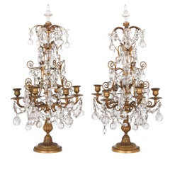 Two Neoclassical Style Gilt Bronze and Cut Glass Candelabra