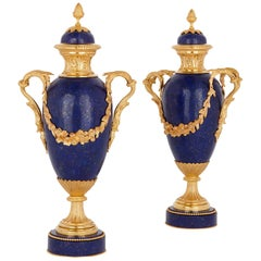 Two Neoclassical Style Ormolu Mounted Lapis Lazuli Urns