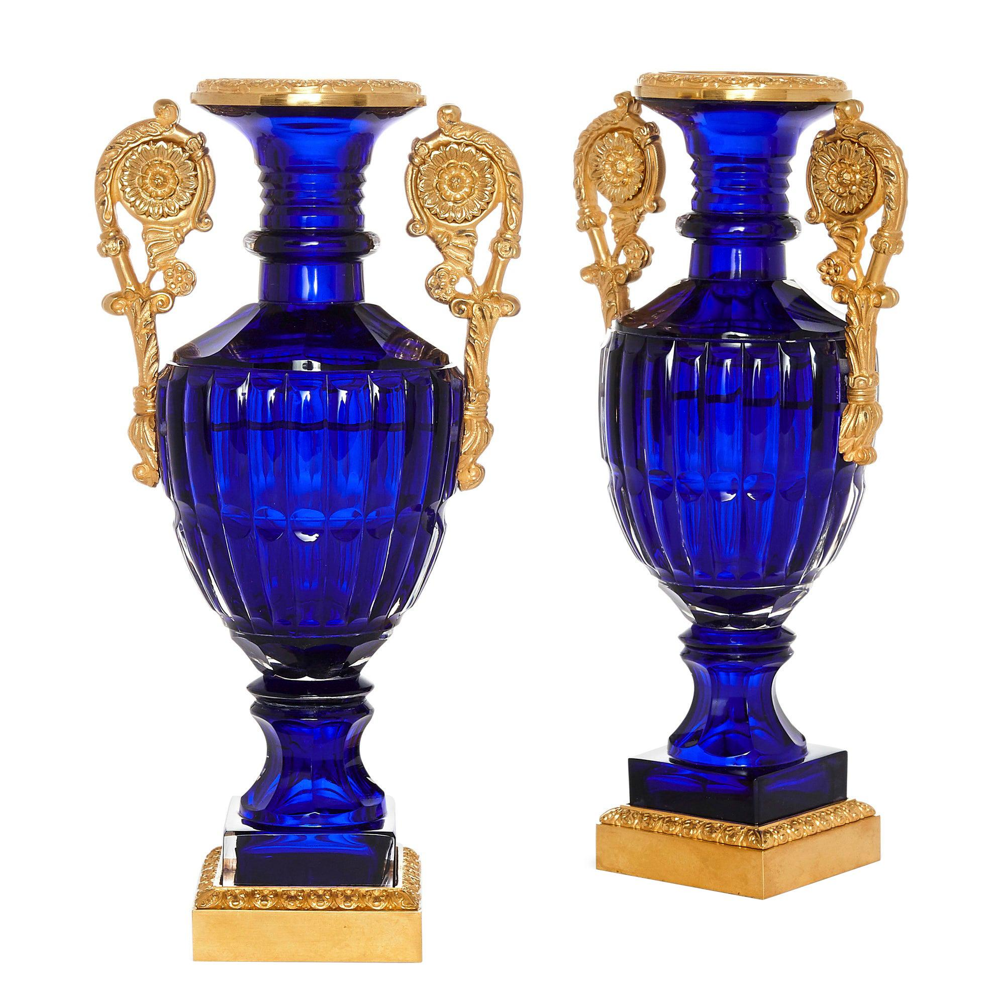 Two Neoclassical Style Russian Cut Glass and Ormolu Vases