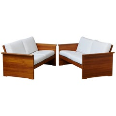 Two Newly Upholstered Tarn Stole Solid Teak Love Seats / Two-Seat, circa 1980s
