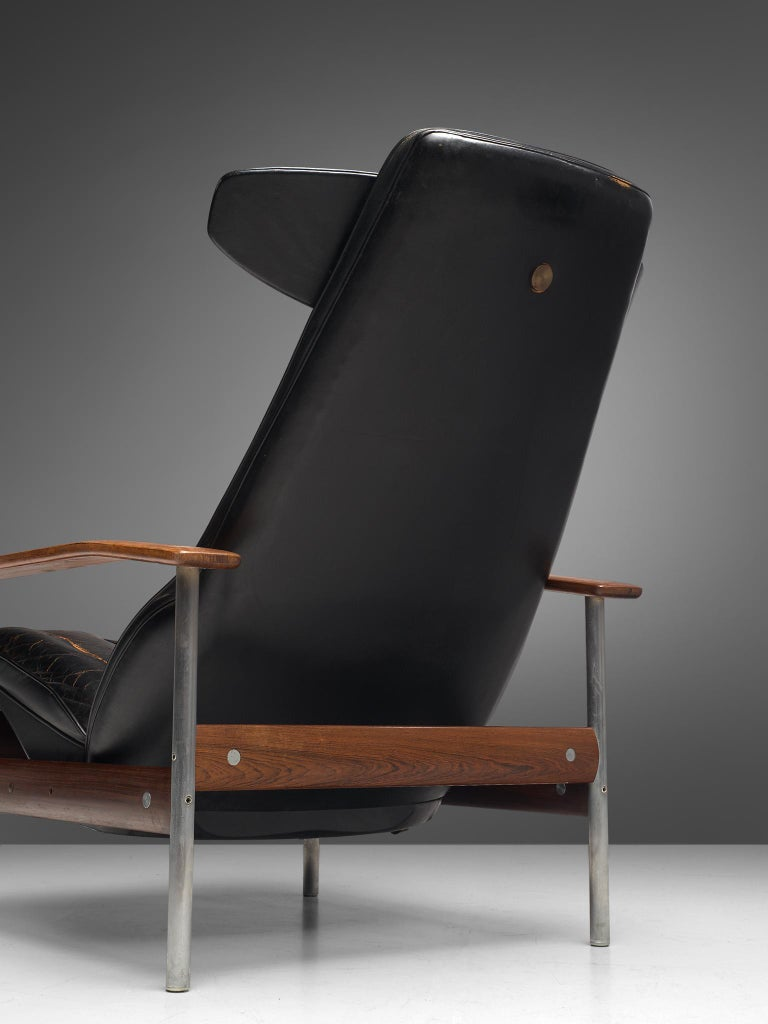 Two Norwegian Lounge Chairs with Ottoman by Sven Ivar Dysthe in Black Leather For Sale 4